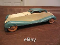 VINTAGE ANTIQUE 30s BUFFALO TOYS BIG STREAMLINE TIN METAL WIND UP TOY COUPE CAR