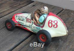 VINTAGE Japan Yonezawa No. 63 Tin Friction Champion Midget Racer Toy Race Car