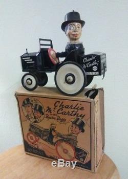 VINTAGE MARX TIN LITHO CHARLIE McCARTHY WIND UP SPINNING HEAD CAR W ORIGINAL BOX