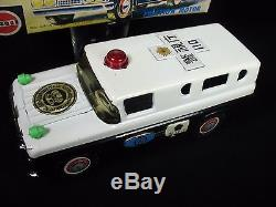 Vintage Patrol Police Armored Truck Car Marusan Japan Tin Friction Toy Boxed