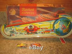 VINTAGE TECHNOFIX ROCKET EXPRESS TIN WIND-UP TOY With 2 CARS GERMANY ORIGINAL BOX