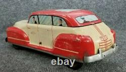 VINTAGE TIN LITHO WOLVERINE LARGE TOY CAR 13 PUSH DOWN TO GO (WORKS) 1940s USA