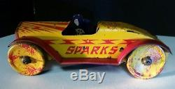 VINTAGE TOY 1920s MARX SPARKS TIN WIND UP RACE CAR WITH DRIVER 8 1/2