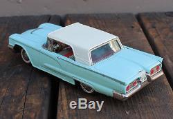 VINTAGE Tin Friction Toy Car Bandai Japan Blue 1958 Ford Thunderbird T-Bird