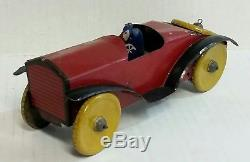 VINTAGE c. 1930s MARX METAL TOY EARLY RACE CAR AND DRIVER NO MOTOR 8 1/2