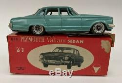 VTG Bandai 1963 Plymouth Valiant Turquoise Sedan Tin Friction Drive Car with Box