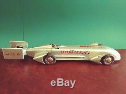 Very Rare 1930's RICO 57cm Tin Wind-up Silver Bullet Record Race Car Racer