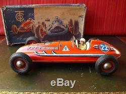 Very Rare 1950's Tippco Tipp&Co TCO Tin Wind-up variant Red #22 Race Car Or. Box