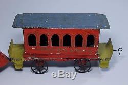 Very Rare Antique c1890 Ives Dandy Clockwork Tin Toy Train Locomotive & Car