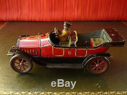 Very Rare c. 1915 HESS Tin Crank Wind-up Flywheel Open Tourer Oldtimer Car