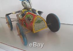 Very rare Ingap Tin TOPOLINO car lithographed tin auto with mouse driver