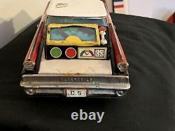 Vintage 13 Highway Patrol Tin Friction Car Oldsmobile Speed Meter Ichiko Japan