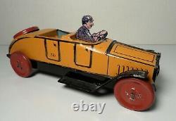 Vintage 1920's J Chein Tin Litho Roadster #221 Race Car Racer