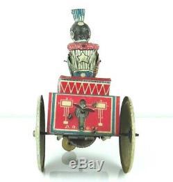 Vintage 1930's G & K Wind-Up Clown Car VG -WORKING