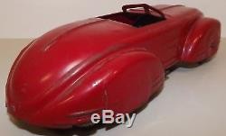 Vintage 1930's WYANDOTTE FUTURISTIC PONTIAC pressed steel 10 car, spring driven