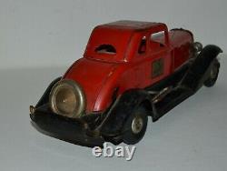 Vintage 1930s Hoge Fire Chief Pressed Steel Wind Up Car