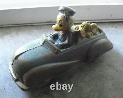 Vintage 1930s Sun Rubber Co Disney Donald Duck and Pluto in Blue Car