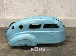 Vintage 1930s WYANDOTTE Pressed Steel Car & Camper Trailer Toy Coupe Convertible