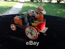 Vintage 1930s tin litho wind up toy Whoopee Cowboy Crazy Car Jelopy by Marx USA
