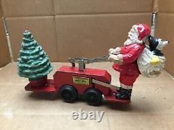 Vintage 1936 Mickey Mouse & Santa Christmas Car #1105 Lionel Corp Disney Wind Up