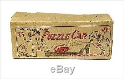 Vintage! 1940s KOSUGE TOYS PUZZLE CAR Tin Toy with Outer Box MADE IN JAPAN