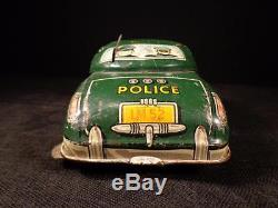 Vintage 1949 DICK TRACY POLICE SQUAD CAR NO. 1 WIND UP TIN TOY MARX GREAT COLOR