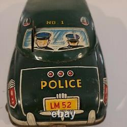 Vintage 1949 Marx Dick Tracy Police Squad Car No 1 wind up tin toy Works with key