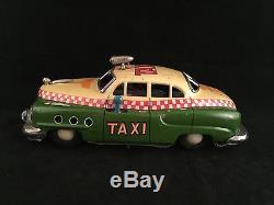 Vintage 1950 Buick Tin Litho Electromobile Taxi Toy Car Alps Japan 8 Works N/R