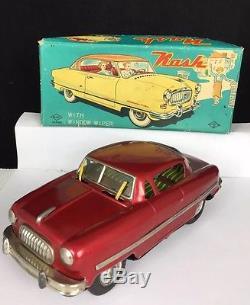 Vintage 1950 Tin Litho Nash Rambler Toy Car Friction Wiper Original Box Mint