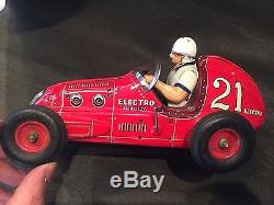 Vintage 1950's Yonezawa Tin Race Car Electro Special Toy Racer #21 Red RARE