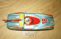 Vintage 1950s ASC Litho Tin Toy Friction Race Car with driver Japan #18
