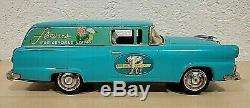 Vintage 1950s FORD Flower Delivery Ranch Wagon & Box 12 Bandai Tin Car Japan