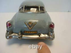 Vintage 1950s Tin Friction Car Cadillac Blue by Marusan Japan 12 Long RARE