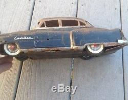Vintage 1951 Marusan Tin Toy Car Pressed Steel Cadillac for Restoration or Parts