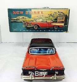 Vintage 1958 Tin Litho Edsel Haji Japan Original Box Tin Toy Car Friction Works