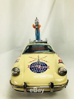 Vintage 1960 Tin Litho Porsche Japan B/O Tin Toy Car World News Works Original