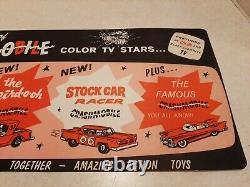 Vintage 1960's Crashmobile Cars Plastic Display Sign Tri-Play Toys 17.5 X 8 V