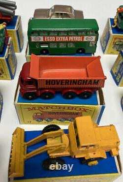 Vintage 1960's Matchbox Diecast Lot Of 12 with Boxes MINTY Old Lesney Toys VNMT