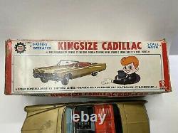 Vintage 1960s Bandai Kingsize Cadillac Gear Shift Toy Tin Car with Original Box
