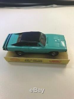 Vintage 1968 Aurora Thunderjet #1407 Turquoise Dodge Charger T-Jet HO Slot Car