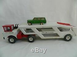 Vintage 1970's Tonka Mighty Car Carrier Pressed Metal Red White Made in USA