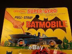 Vintage 1973 BATMOBILE OFFICIAL SUPER GYRO PULL STRAP CAR DC AHI MOC RARE CLEAN