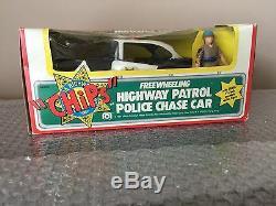 Vintage 1981 Mego 3.75 CHIPS Highway Patrol Police Chase Car/Sarge -Acrylic Case