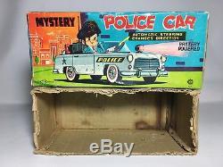 Vintage 50s Nomura Japan Mystery Police Tinplate Car Battery Operated Bump & Go