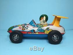 Vintage 70s Masudaya BIG Friction Tin Car JEEG GEAG Modern Toys popy bullmark
