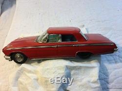 Vintage ATC Asahi Japan Tin Friction Car 1962 Chevrolet Chevy 4 Door Impala Red