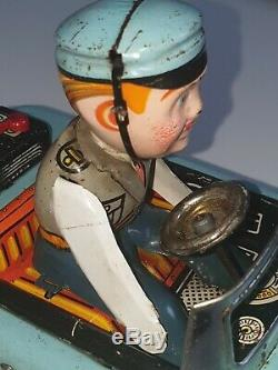 Vintage Amazing 50s Battery Tin Toy Rendorseg LemezForeign Mistery Police Car