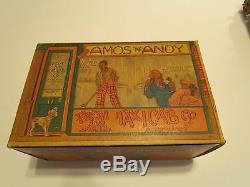 Vintage Amos & Andy Tin Wind-up Car With Box And Insert Card with Cutouts