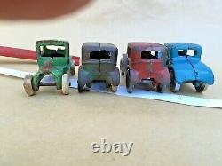 Vintage Arcade Cast Iron Car Hauler & Model A Cars