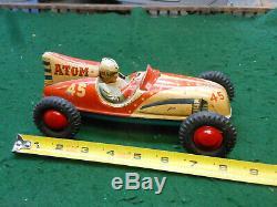 Vintage BIG 8 Inch 1950s Japan Yonezawa SAN ATOM Racer Tin Toy Race Car